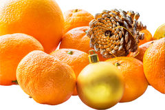 Christmas still life with tangerines on white background Stock Photo