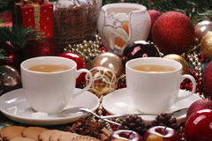 Christmas still life with tea and biscuits Royalty Free Stock Photography