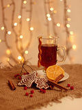 Christmas still life.tea and cookies Stock Images