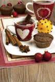 Christmas still life with tea cup and  muffins Royalty Free Stock Photography