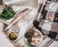 Christmas still life with tea, lights, cones and cookies Royalty Free Stock Photos