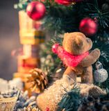 Christmas still life with teddy bear Royalty Free Stock Photo