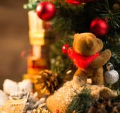 Christmas still life with toy bear Stock Image