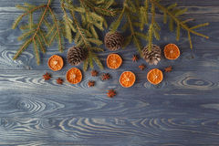 Christmas still life with traditional gingerbread cookies on woo. D Stock Photo