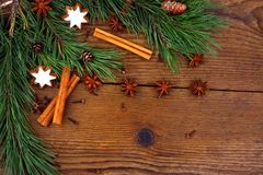 Christmas still life with traditional gingerbread cookies on wood Royalty Free Stock Image