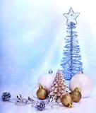 Christmas still life with tree, ball. Stock Photos