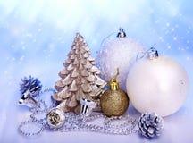 Christmas still life with tree, ball. Royalty Free Stock Photo