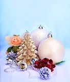 Christmas still life with tree, ball. Royalty Free Stock Photo