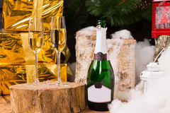 Christmas still life with two champagne flutes Stock Photography