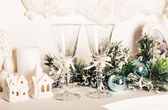 Christmas still life - Two glasses of champagne with Xmas decorations Stock Photography