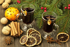 Christmas still life with two glasses of mulled wine Stock Photography