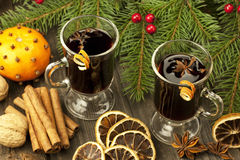 Christmas still life with two glasses of mulled wine Stock Photos