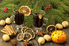 Christmas still life with two glasses of mulled wine Royalty Free Stock Photography