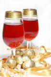 Christmas still life - two glasses with red wine Royalty Free Stock Image