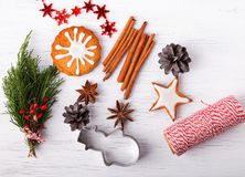 Christmas still life. Up view. Stock Photos
