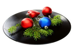 Christmas still life with a vinyl disc and balls. Stock Photography