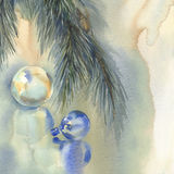Christmas still-life watercolor background. With color bubbles and christmas tree branches. Christmas card Royalty Free Stock Photos