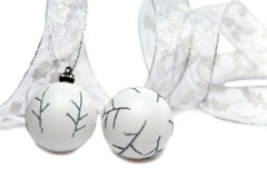 Christmas still life from White New Year's balls and decorative tape on a white background Stock Images