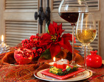 Christmas still life with white and red wine Royalty Free Stock Images