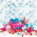 Christmas still life in winter snow royalty free stock image