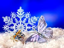 Free Christmas Still Life With Snowflake And Candle. Royalty Free Stock Images - 27568879