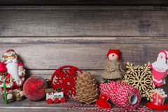 Christmas still life on the wooden background. Copy space Royalty Free Stock Photos