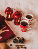 Christmas still life with XMAS letters, tea and present Stock Images