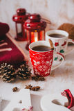 Christmas still life with XMAS letters, tea and present Stock Image