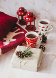 Christmas still life with XMAS letters, tea and present Stock Photography