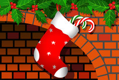 Christmas stocking. Сhristmas stocking on a fireplace Royalty Free Stock Image