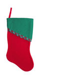 Christmas Stocking. Red and green Christmas stocking isolated on white background Royalty Free Stock Images