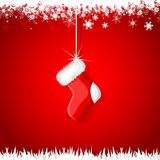 Christmas Stocking. Vector illustration of Christmas stocking hanging in snowflakes Royalty Free Stock Image