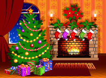 Christmas stocking. Holiday-decorated fireplace with Christmas tree Stock Photo