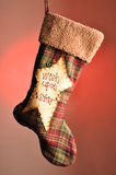 Christmas stocking. Which is used for gifts at christmas time Royalty Free Stock Photo