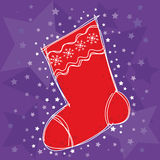 Christmas stocking. Christmas background with  a red stocking and stars Stock Photo