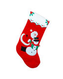 Christmas Stocking. Red Christmas stocking showing Santa Claus and a snowman Royalty Free Stock Photo
