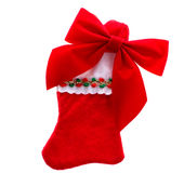 Christmas stocking with bow. On white background Royalty Free Stock Photo
