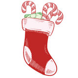 Christmas stocking with candy canes Stock Images
