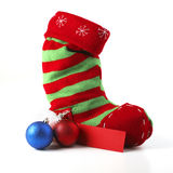 Christmas Stocking With Card And Balls Stock Image