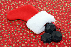 Christmas Stocking with Coal stock images