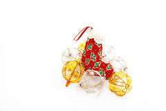 Christmas Stocking And Colorful Baubles Stock Photo