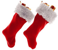 Christmas stocking in 3d isolated on white background Stock Photography