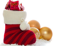 Christmas stocking with decorations isolated on white Stock Photography
