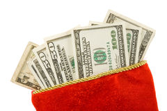 Christmas Stocking and dollars Royalty Free Stock Image