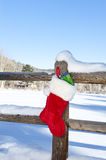 Christmas Stocking on Fence Royalty Free Stock Photography