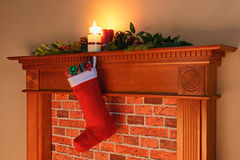 Christmas stocking fire glow Stock Photos