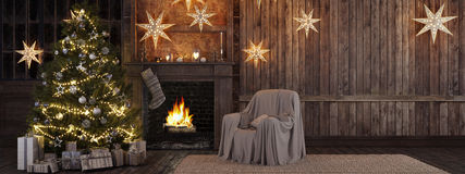 Christmas stocking on fireplace background. 3d rendering royalty free stock photo