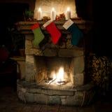 Christmas stocking on fireplace background. romantic, holidays interior Royalty Free Stock Image