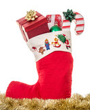 Christmas Stocking full of gifts Royalty Free Stock Photos