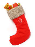 Christmas Stocking full of Presents. Isolated Royalty Free Stock Photos
